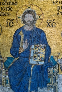 Center detail of a 6th Century mosaic of Jesus Christ at the Hagia Sophia, Constantinople/Istanbul  copyright Can Stock Photo, Inc./Vladyslav