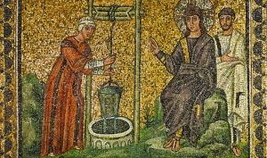 Jesus and the Samaritan Woman at the Well of Jacob (Sychar) from a mosaic, Ravenna, Italy