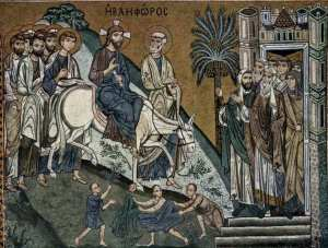 Entry into Jerusalem (Palm Sunday), 12th C. mosaic, Palermo Cathedral, Palermo, Sicily, Italy.