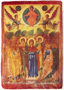 A 16th Century Orthodox Church icon of the Ascension from Bulgaria.
