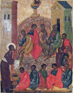 16th Century Russian Orthodox icon of Jesus Washing the Disciples' Feet painting in the Pskov tradition.  St. Peter points to his own head.