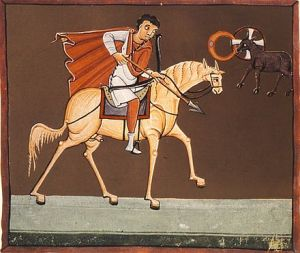 The First Horseman. the White Hourse, illumination from the Bamburg Apocalypse. 11th Century, Bamburg State Archive, Bamburg, Germany