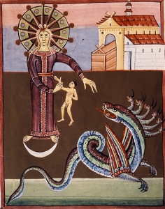 The Woman, the Child and the Dragon, Bamberg Apocalypse (11th C) with anatomically correct child.