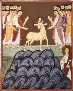 Folio 34, The Lamb on Mt. Sion, the Bamberg Apocalypse, 11th C., Bamberg State Library, Bamberg, Germany.