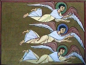 Folio 35, Three Angels Flying, Bamberg Apocalypse, Bamberg State Library, Bamberg, Germany.  11th C.