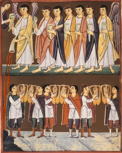 Angel with Seven Plagues, adapted from Folio 38, the Bamberg Apocalypse, early 11th Century. Bamberg State Library, Bamberg, Germany