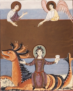 The Whore of Babylon, from Folio 43, the Bamberg Apocalypse, Bamberg State Library, Germany, early 11th C.