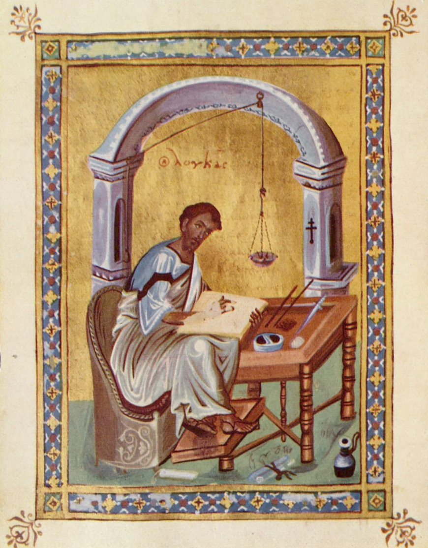 Luke-Writing His Gospel-Byzantine-Ms Additional 28815-f76v-BritLibr-PCA